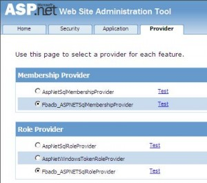 ASP.NET Configuration wizard - Testing the Membership and Role Provider