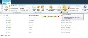 Figure 2 - Click on Export to Excel