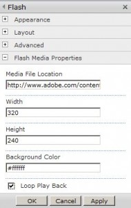Flash Media Player WebPart Configuration