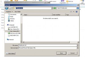 Figure 4 - Saving Excel Web Query File