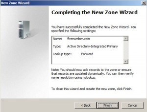 Figure 8 - Completing the New Zone Wizard