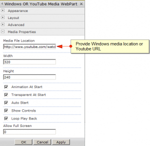 Windows Or YouTube Player WebPart Properties